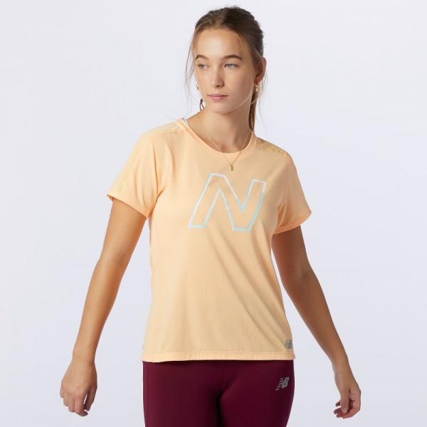 New Balance Printed Impact Run Short Sleev Damen