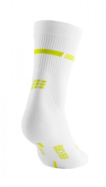 CEP neon mid-cut socks, women, white/neon yellow Damen